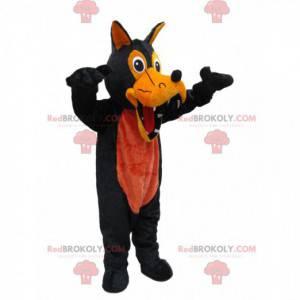 Schwarzes Wolf Maskottchen und erschreckende Orange -