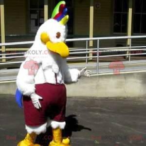 Maskot ptačí slepice s barevným hřebenem - Redbrokoly.com