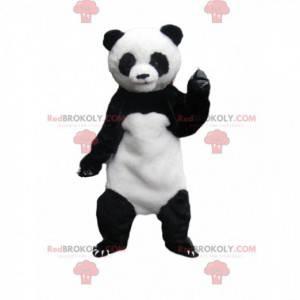 Witte en zwarte panda-mascotte met grote klauwen -