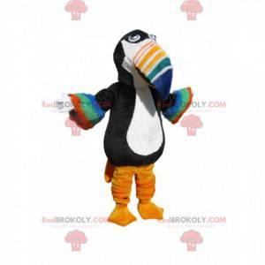 Maskot černobílý tukan s různobarevným zobákem - Redbrokoly.com