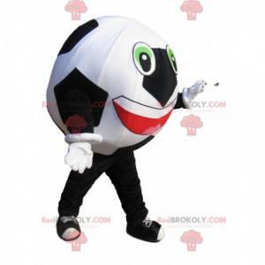 Sehr begeistertes Schwarz-Weiß-Fußball-Maskottchen -
