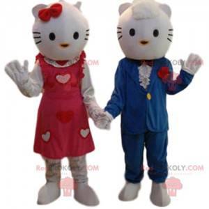 Dúo de mascotas de Hello Kitty y su querida en traje -