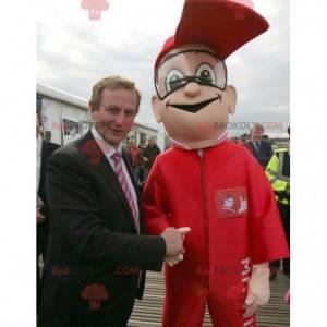 Maskot garáže muž v červených montérkách - Redbrokoly.com