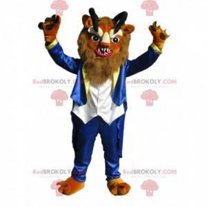 Fierce lion mascot with black horns - Redbrokoly.com