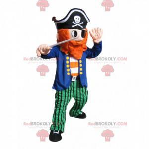Mascote Barbarossa com chapéu de pirata e espada -