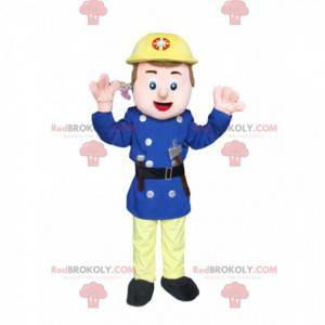 Záchranný pracovník maskot se žlutou helmou a malou sekerou -