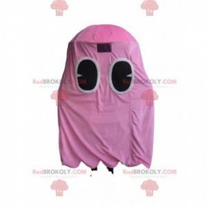 Maskot av det rosa spøkelset til Pacman, den gule karakteren