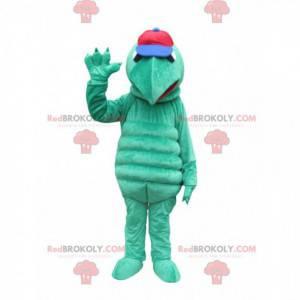 Maskot zelené želvy se špičatým čenichem a čepicí -