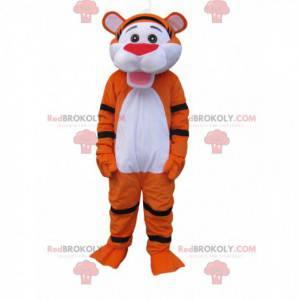 Velmi šťastný maskot fluoreskujícího oranžového tygra -