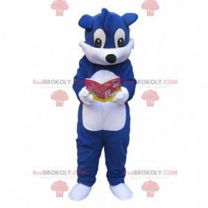 Blue and white dog mascot reading a manga - Redbrokoly.com