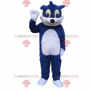 Blue and white dog mascot with a funny puff - Redbrokoly.com