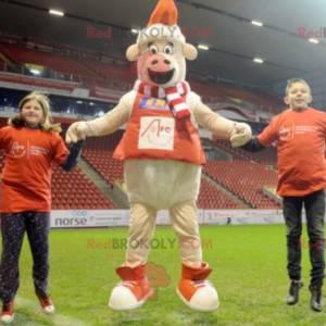 Ovčí maskot s šátkem, svetrem a čepicí - Redbrokoly.com