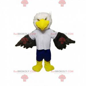 Maskot bílý a černý orel s modrými kraťasy - Redbrokoly.com