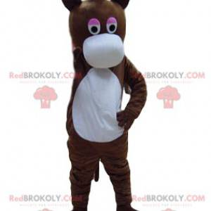 Hnědý osel maskot s velkou bílou tlamou - Redbrokoly.com