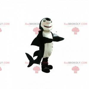Maskot černobílý žralok se zelenýma očima - Redbrokoly.com