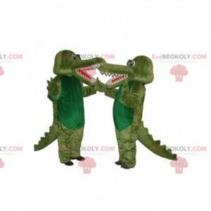 Duo mascotte coccodrillo verde. Costume da coccodrillo -