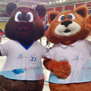 2 mascots a brown bear and an orange and white fox -