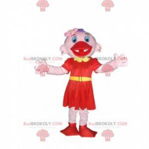 Růžový třtinový maskot s elegantními červenými šaty -