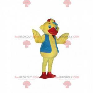 Maskot žluté káčátko s modrou vestou a čepicí - Redbrokoly.com