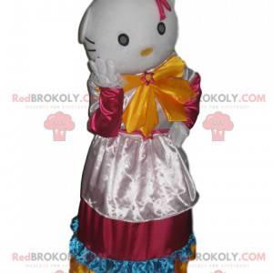 Maskot Hello Kitty s bílými a vícebarevnými saténovými šaty -