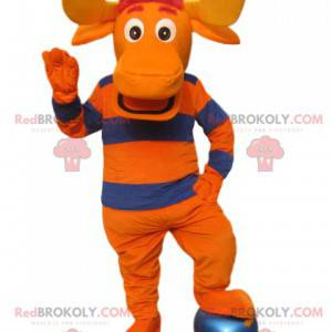 Pomarańczowy i niebieski jeleń maskotka z dużymi rogami -