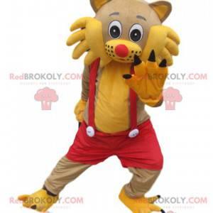 Gelbes Katzenmaskottchen mit rotem Overall - Redbrokoly.com