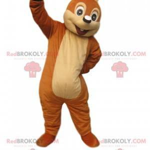 Mascote esquilo marrom muito entusiasmado - Redbrokoly.com