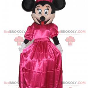 Minnie Maskottchen mit einem pinkfarbenen Satinkleid -