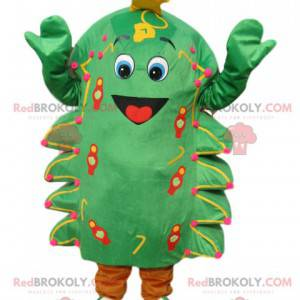 Green fir mascot with a big smile and a golden star -