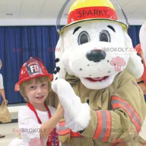 White dog mascot dressed as a firefighter - Redbrokoly.com