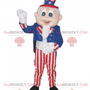 Mascot man with a costume and hat in the colors of America -