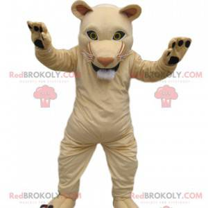 Cream lioness mascot with a perfect muzzle - Redbrokoly.com