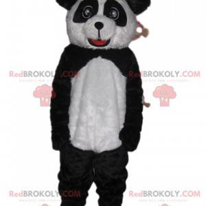 Mascote panda preto e branco com olhos lindos e um sorriso