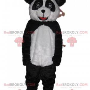 Maskot černobílý panda s krásnýma očima a krásným úsměvem -
