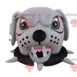 Cabeça agressiva do mascote do bull dog com coleira -