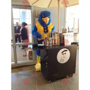 Modrý a žlutý pták maskot všechny chlupaté - orel maskot -