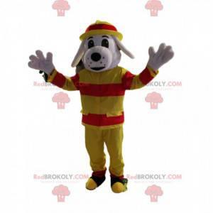 Weißes Hundemaskottchen im Feuerwehroutfit - Redbrokoly.com