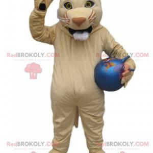 Kremowa lwica maskotka z niebieskim balonem - Redbrokoly.com