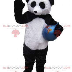 Sort og hvid panda maskot med en blå ballon - Redbrokoly.com