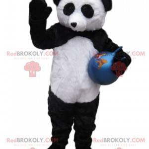 Zwart-witte panda-mascotte met een blauwe ballon -