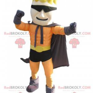 Superhero mascot with a fun hairstyle and glasses -