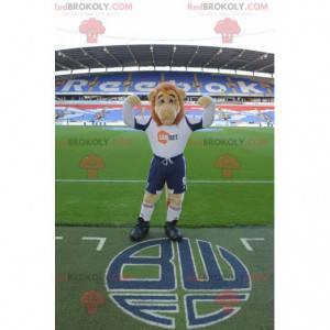 Mascot beige and orange lion in sportswear - Redbrokoly.com