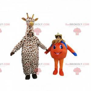 Nemo e uma girafa mascote dupla - Redbrokoly.com