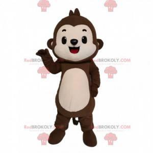 Maskotka mały brązowy i kremowy małpa. - Redbrokoly.com