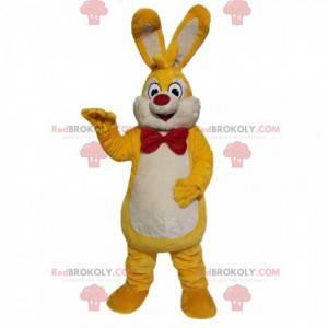 Gul og hvit kaninmaskot med rød sløyfe - Redbrokoly.com