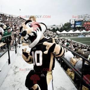 Černá a bílá béžová tygří maskot ve sportovním oblečení -