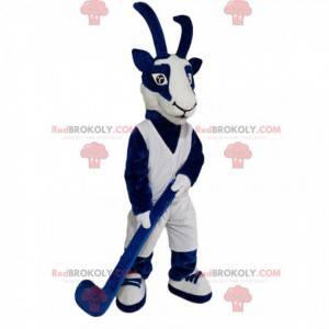 Blaues und weißes Gämsenmaskottchen mit einem Hockeykreuz -