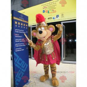 Brown mouse mascot dressed as a knight - Redbrokoly.com