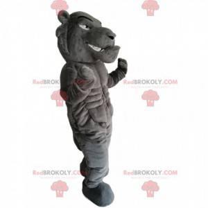 Divoký a velmi svalnatý šedý tygr maskot - Redbrokoly.com