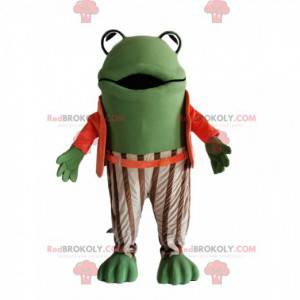 Green frog mascot with an orange and white striped costume -